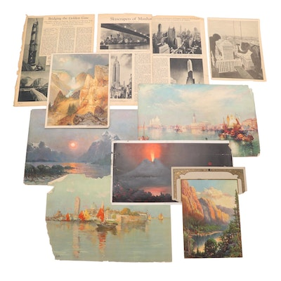 Color Lithographs and Newspaper Clippings of Landscape and Landmark Scenes