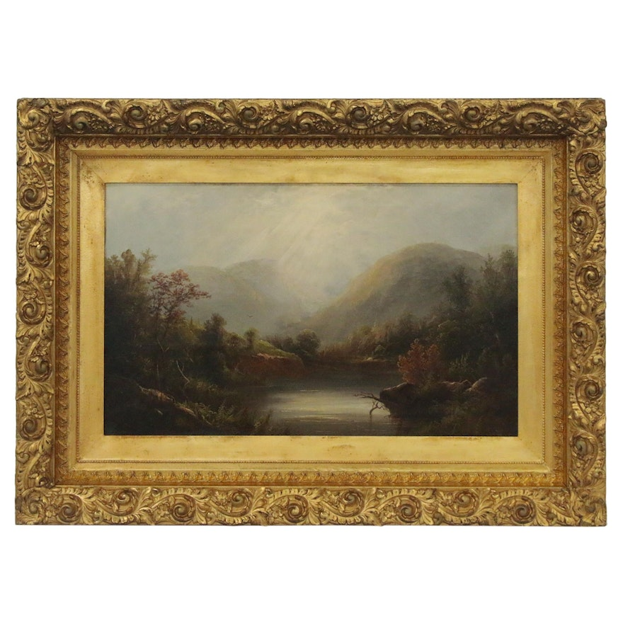 Hudson River School Style Landscape Oil Painting of Mountain Lake