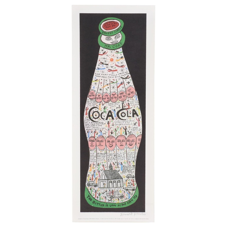 """Howard Finster Offset Lithograph """"Coca Cola,"""" 1989"""