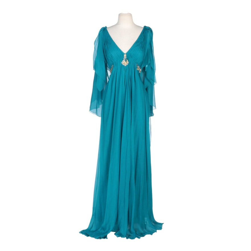 Alberto Makali Blue Silk Butterfly Sleeve Gown with Bead and Jewel Accents