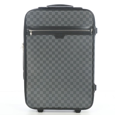 Louis Vuitton Pegase 55 Rolling Suitcase in Damier Graphite Coated Canvas