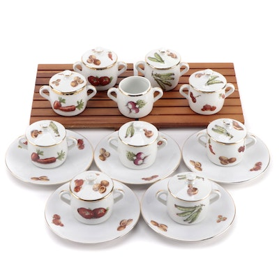 Pillivuyt French Porcelain Petite Marmites with Seltmann Porcelain Saucers