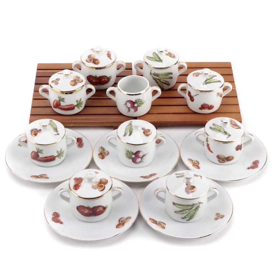 Pillivuyt French Porcelain Petite Marmites with Seltmann Porcelain Saucers