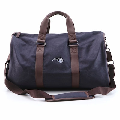 Peter Millar Duffel Bag in Heathered Twill with Leather Trim