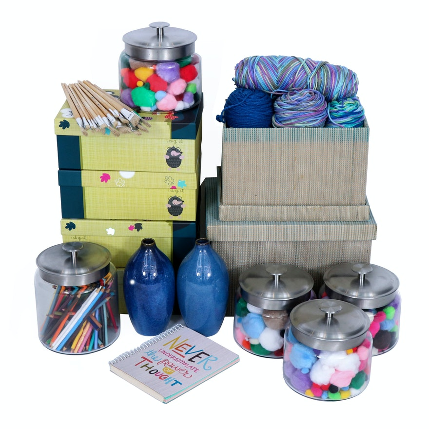 Yarn and Art Supplies with Storage Boxes and Jars, 21st Century