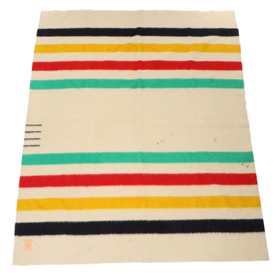 Hudson's Bay Four Point Wool Blanket, Mid-20th Century