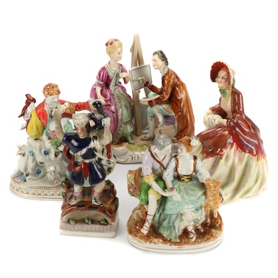 "Royal Doulton ""Her Ladyship"" Figurine and Other Hand-Painted Porcelain Figurines"