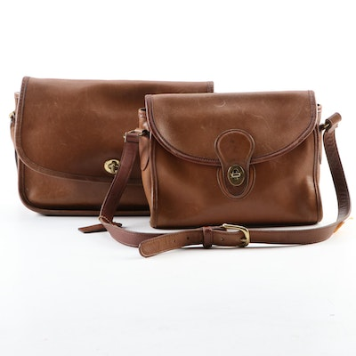 Coach Emmie Shoulder Bag and Compartment Shoulder Bag in Brown Leather