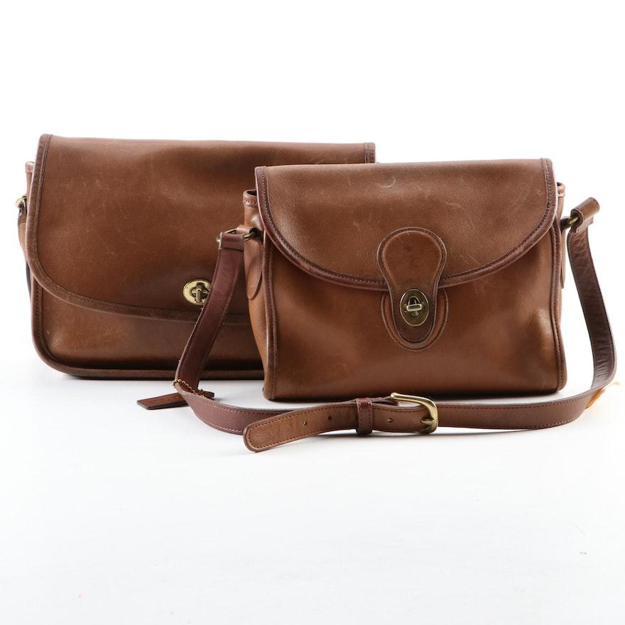 Coach Emmie Shoulder Bag and Compartment Shoulder Bag in Brown Leather