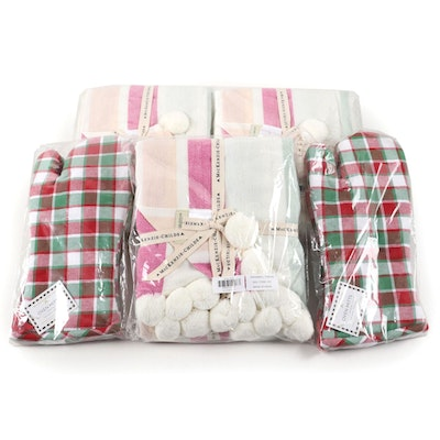"MacKenzie-Childs ""Snowball"" Acrylic Throw and Cotton Oven Mitts"
