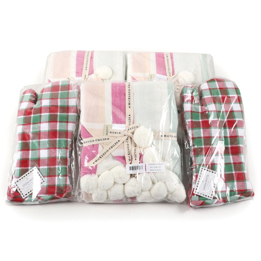 """MacKenzie-Childs """"Snowball"""" Acrylic Throw and Cotton Oven Mitts"""