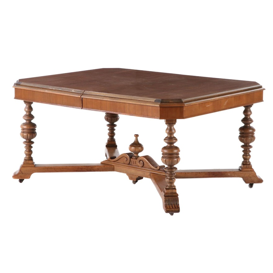 Spanish Revival Style Walnut Dining Table, Mid-20th Century