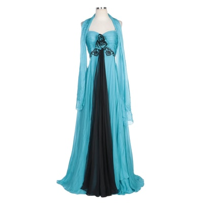 Alberto Makali Turquoise Gown with Black Trim and Rhinestones and Wrap