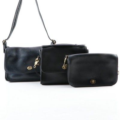 Coach Black Court Bag, Penny Pocket, and Navy Rambler's Legacy Shoulder Bags