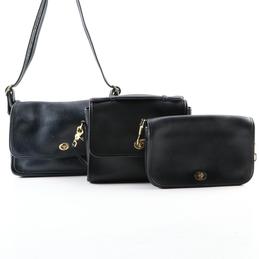 Coach Black Court Bag, Penny Pocket, and Navy Rambler's Legacy Shoulder Bags