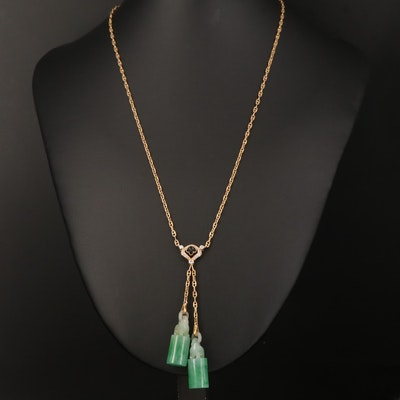 18K Jadeite, Diamond and Black Onyx Necklace