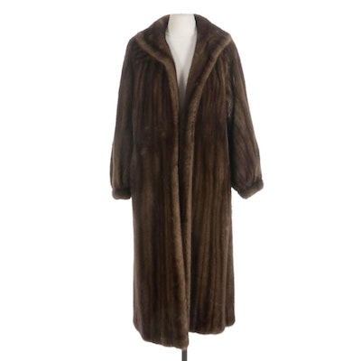 Mink Fur Dolman Sleeve Full-Length Coat with Banded Cuffs
