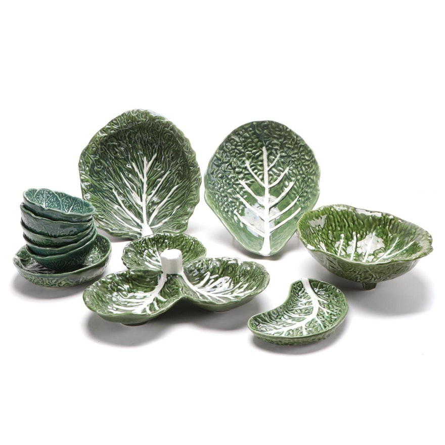 Portuguese Majolica Green Cabbage Leaf Bowls and Serving Bowls
