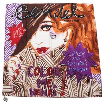 """Henri Bendel """"The Fashion Issue"""" Printed Silk Twill Scarf"""