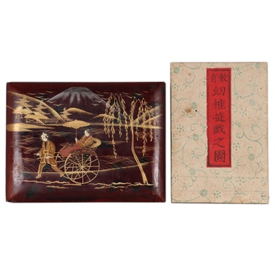 Japanese Woodblock Children's Primer and Hand-Colored Albumen Photo Album