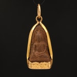 Vintage 18K Carved Lava Buddha Pendant