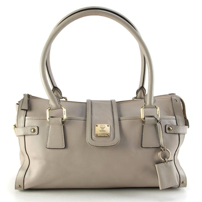 MCM Taupe Gray Leather Shoulder Bag