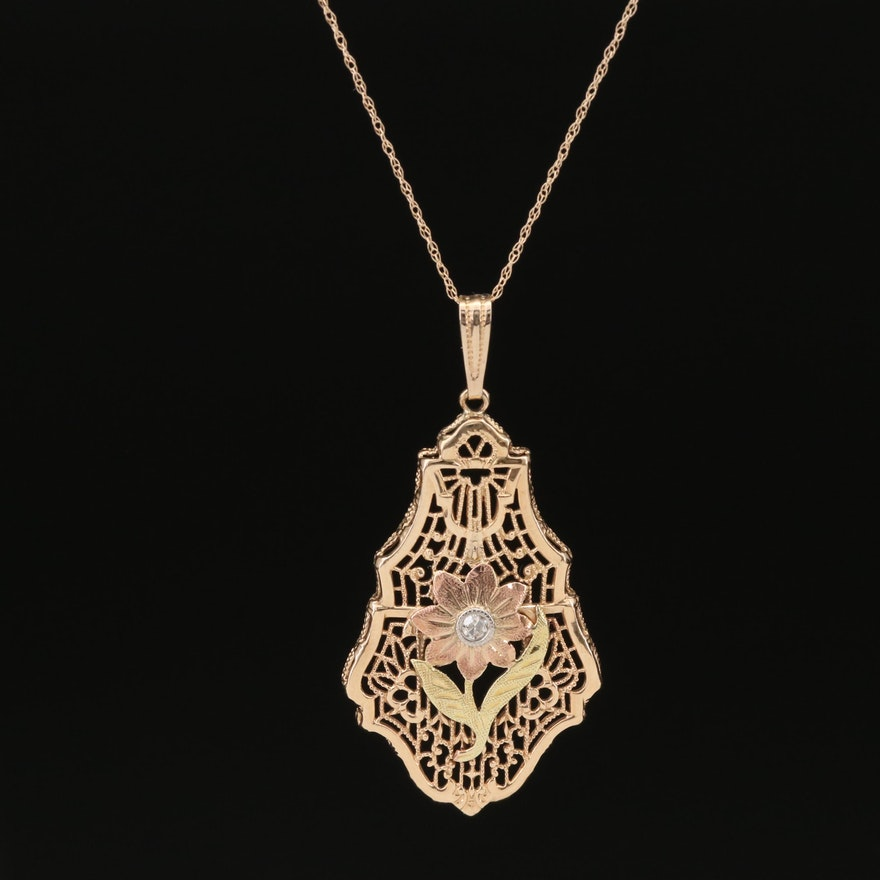 Vintage 14K Diamond Floral Pendant Necklace with Rose and Green Gold Accents