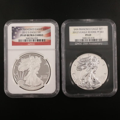 NGC Graded PF69 Ultra Cameo 2012 and PF69 Reverse Proof $1 Silver Eagles