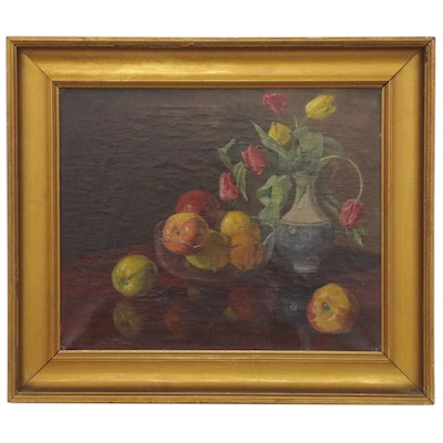 Robert Panitzsch Fruit and Floral Still Life Oil Painting, 1919