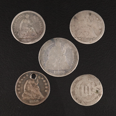 Five U.S. Silver Coins, Mid to Late 19th Century