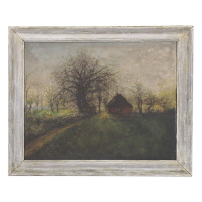 Tonalist Rural Landscape Oil Painting, 1949
