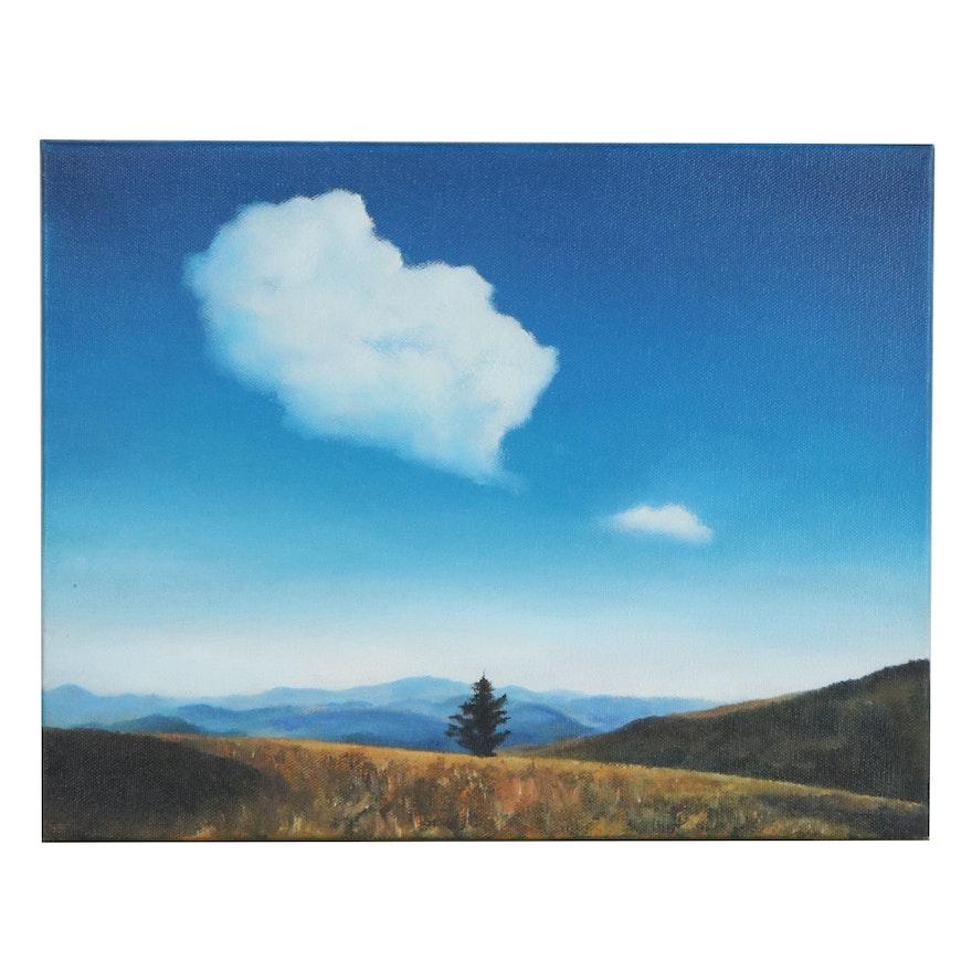 "Brad Emerick Oil Painting ""Blue Solitude,"" 2020"