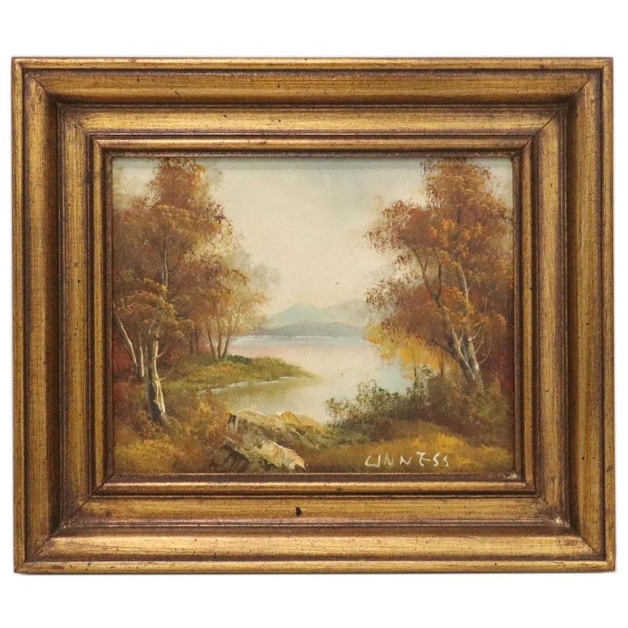 Autumn Landscape Oil Painting, Mid-20th Century