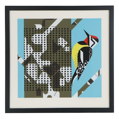 "Charley Harper Serigraph ""Yellow Bellied Sapsucker,"" 1972"