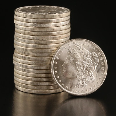 Twenty Uncirculated 1899-O Morgan Silver Dollars