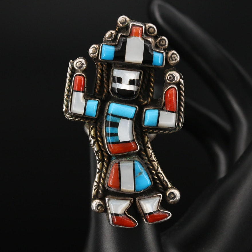 Southwestern Sterling Mother of Pearl, Turquoise and Coral Dancing Kachina Ring