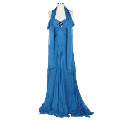 Alberto Makali Embellished and Pleated Blue Silk Gown with Shoulder Wrap