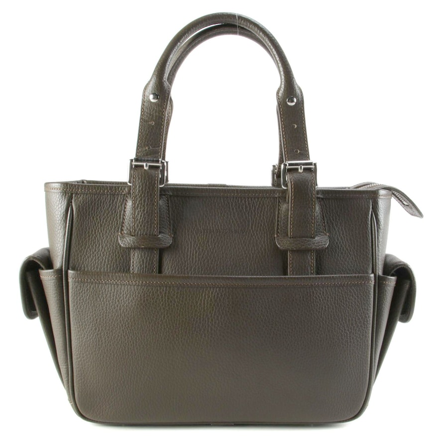 Burberry Brown Grained Leather Buckle Strap Handbag
