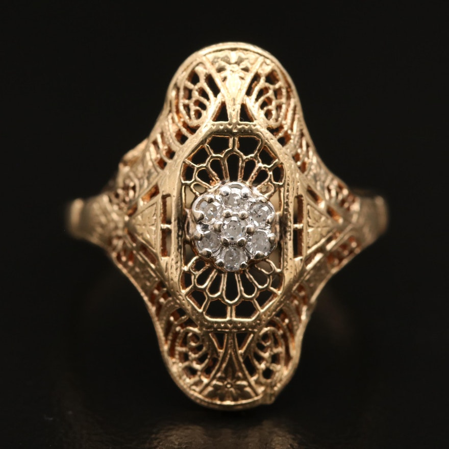 10K Diamond Openwork Ring