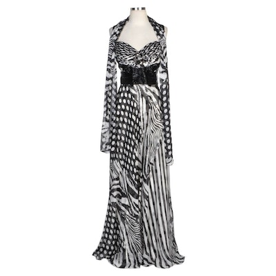 Alberto Makali Printed Silk Beaded Sleeveless Gown and Wrap