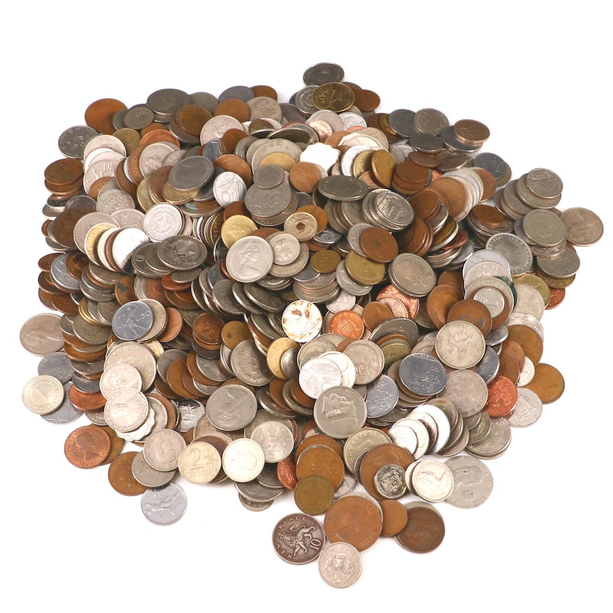 Approximately 600 Foreign Coins, 20th Century