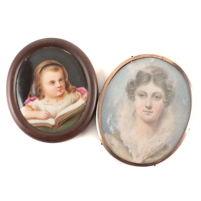 Watercolor and Oil on Porcelain Portraits, Early 20th Century