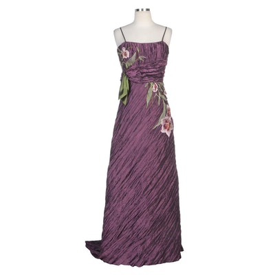 Alberto Makali Pleated and Embroidered Floral Appliqué Sleeveless Gown