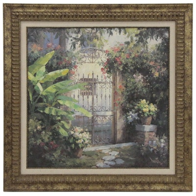 Offset Lithograph of Floral Entryway Oil Painting