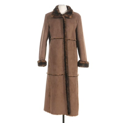 Faux Shearling Coat with Faux Fur Lining