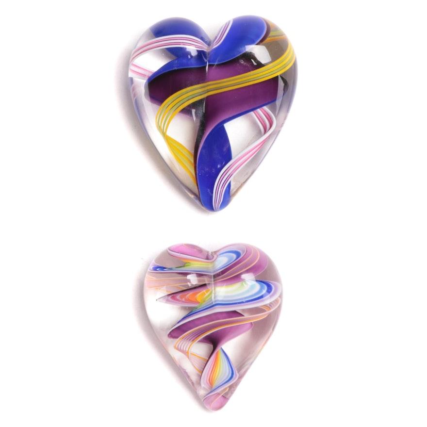 Handblown Art Glass Ribbon Heart Paperweights