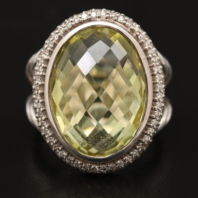 David Yurman Sterling Silver Citrine and Diamond Ring