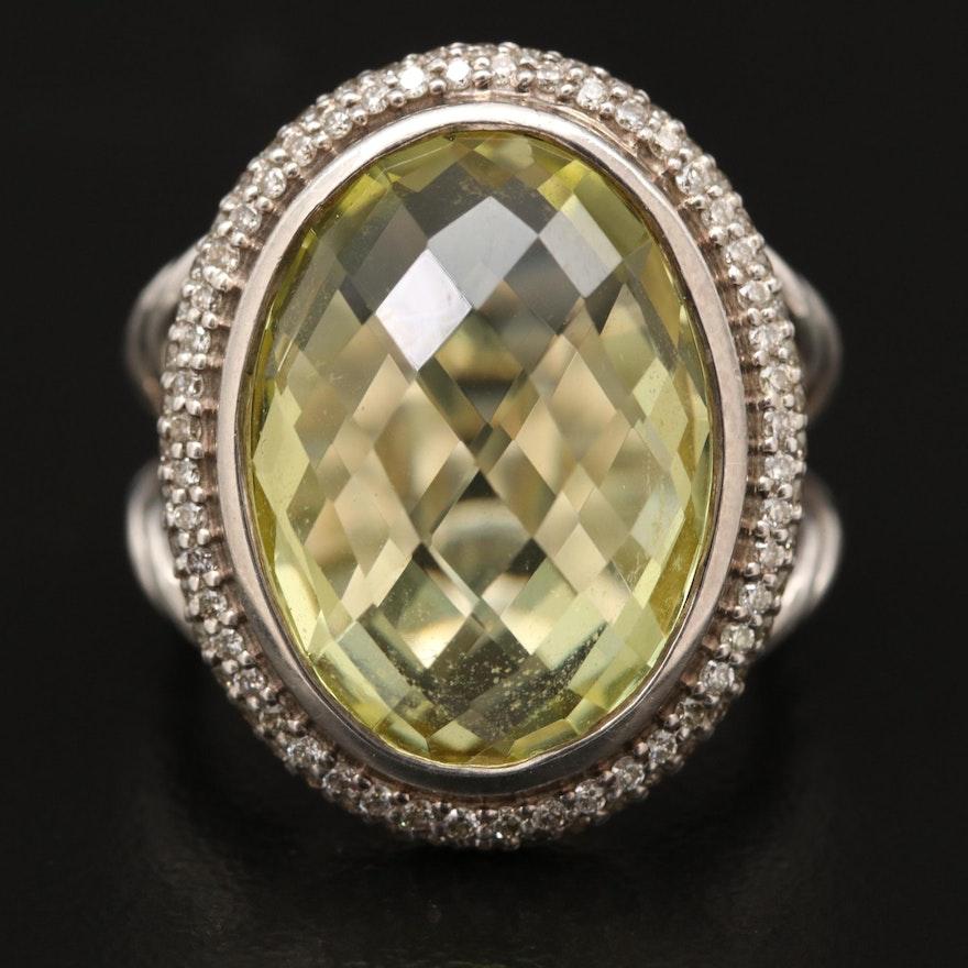 David Yurman Sterling Silver Citrine and Diamond Ring