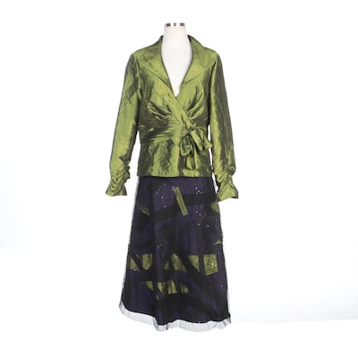 Simon Chang Faux Wrap Blouse with Mesh Overlay Sequin Embellished Skirt