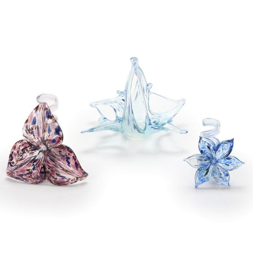 Murano Handblown Art Glass Bowl and Cristalleria Arzane Flowers